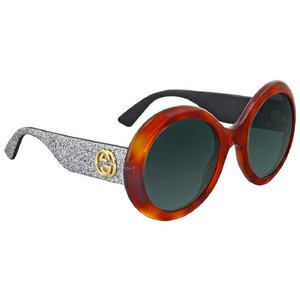 Gucci Round Green Lens Brown/Silver Glitter Sunglasses