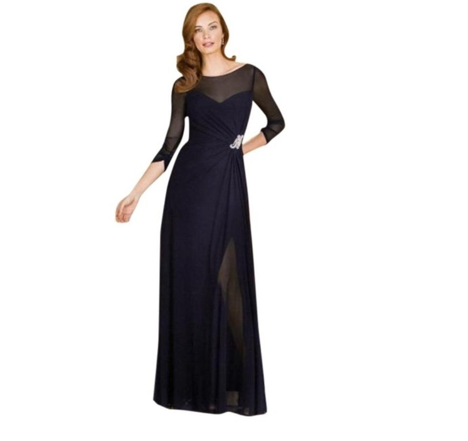 Jasmine Bridal Navy Jade By Style J175057 Long Formal Dress Size 14