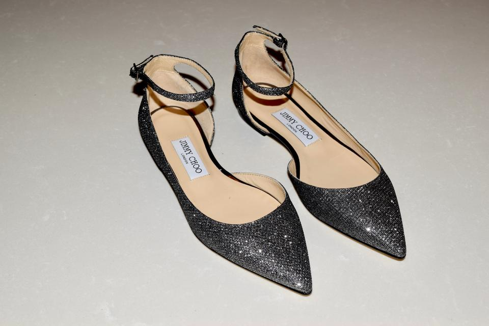 52f9a73b53fd Jimmy Choo Glitter Pointed Toe Ankle Strap Evening Silver Flats Image 4.  12345