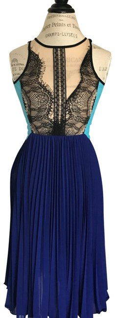 Item - Black Nude and Blue Sexy Mid-length Cocktail Dress Size 2 (XS)
