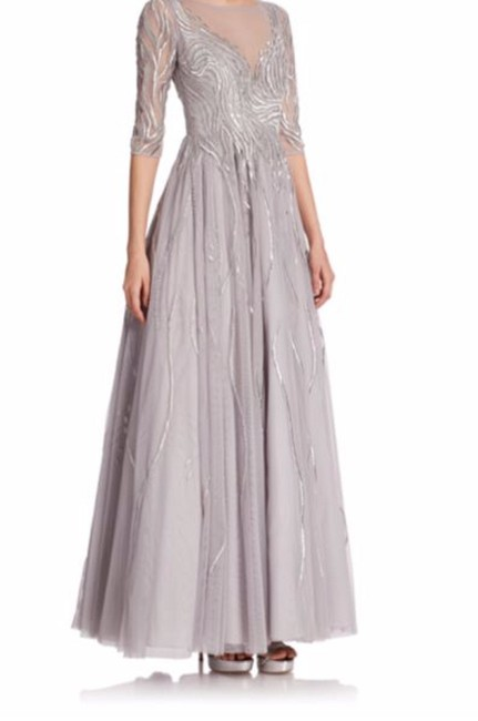 Item - Grey Embroidered Illusion Gown Long Formal Dress Size 10 (M)