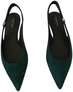 Calvin Klein Collection Made In Italy New Never Worn Green Flats