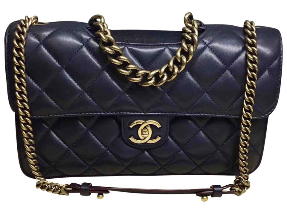 595004258242 Chanel Quilted Large Perfect Edge Gold Hw Navy Blue Lambskin Leather ...