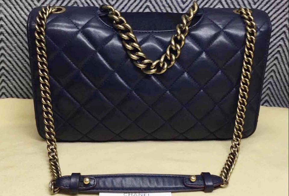 934a9de69517 Chanel Quilted Large Perfect Edge Gold Hw Navy Blue Lambskin Leather  Shoulder Bag - Tradesy