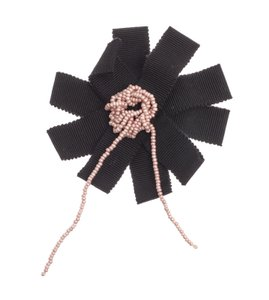 Chanel Black and Pink Ribbon Pkin Beaded Center Camellia Flower Brooch/Pin