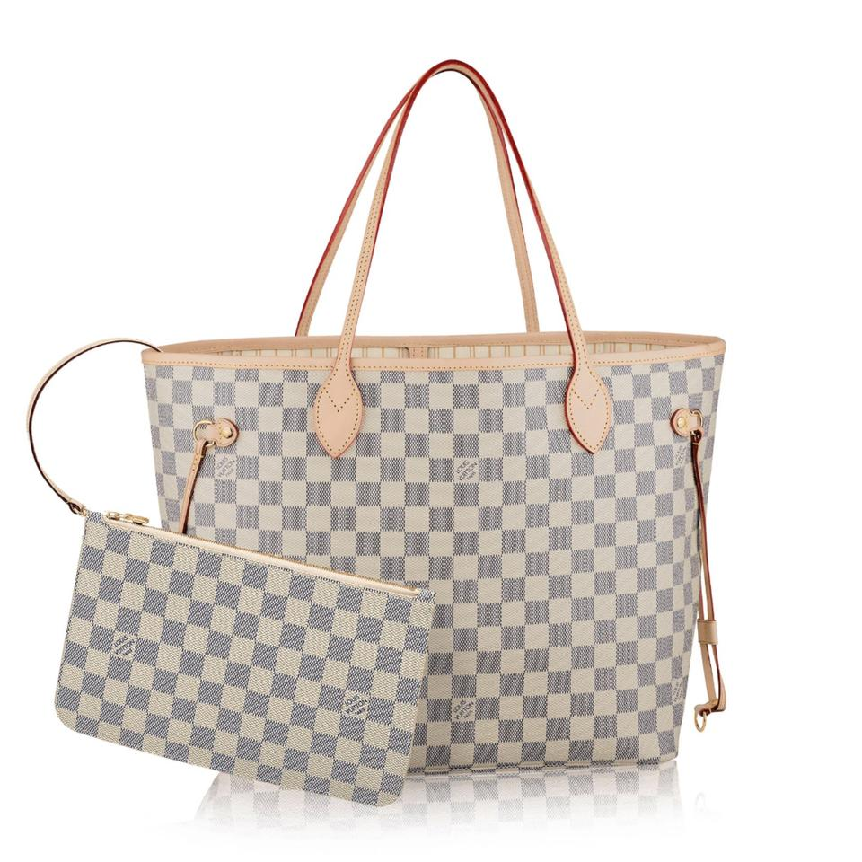 louis vuitton neverfull mm tote damier azur n41361 white canvas hobo bag tradesy. Black Bedroom Furniture Sets. Home Design Ideas