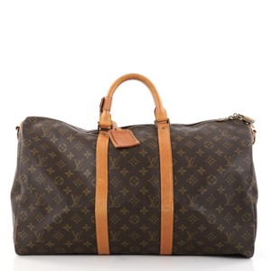 Louis Vuitton Keepall Canvas Brown Travel Bag