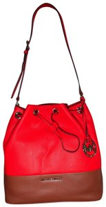 Michael Kors Soft Red Orange Colorblock Drawstring Shoulder Bag