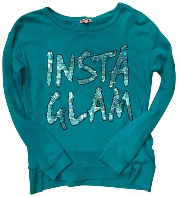 Preload https://img-static.tradesy.com/item/22889235/juicy-couture-turquoise-blue-insta-glam-sequinned-sweaterpullover-size-4-s-0-1-650-650.jpg