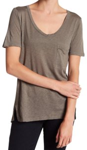 Splendid Chest Patch Pocket Tonal Topstitching Vented Sides Sleeves Scoop Neck T Shirt NWT Military Olive