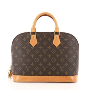 Louis Vuitton Alma Canvas Satchel in Brown