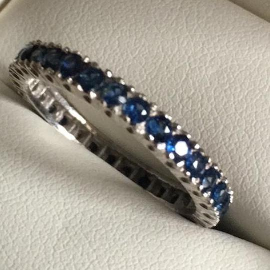 Vintage 14K Sapphire Eternity Band Ring 14K White Gold Eternity Band