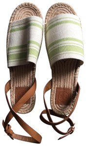 Tory Burch tan, cream and green Flats