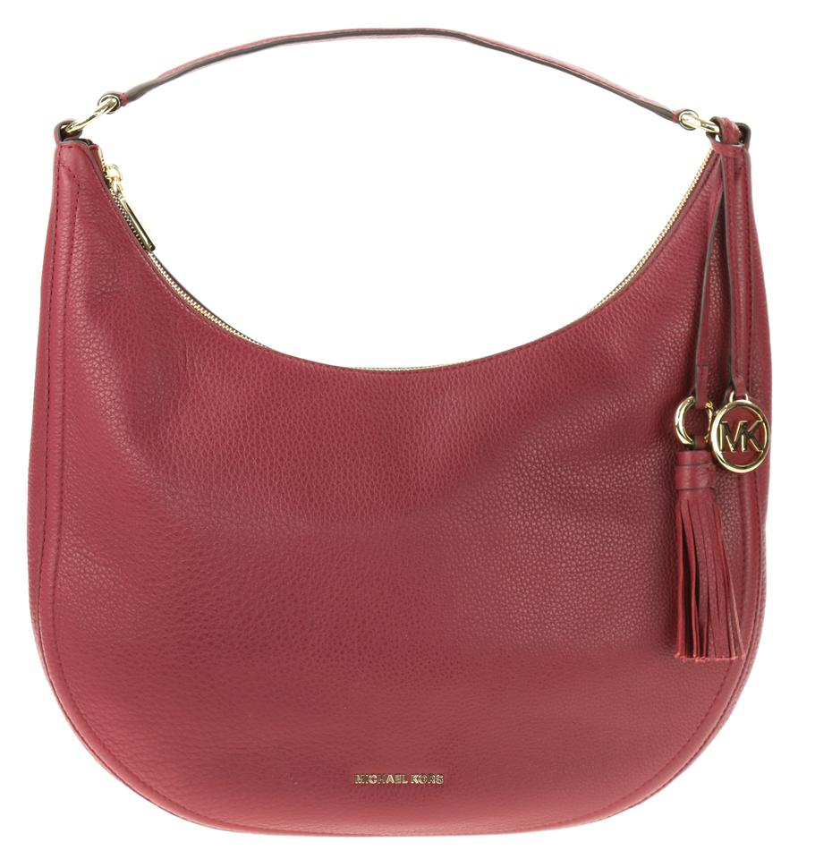 b7a59dfdd25ec Michael Kors Lydia Large Mulberry Red Leather Shoulder Bag - Tradesy