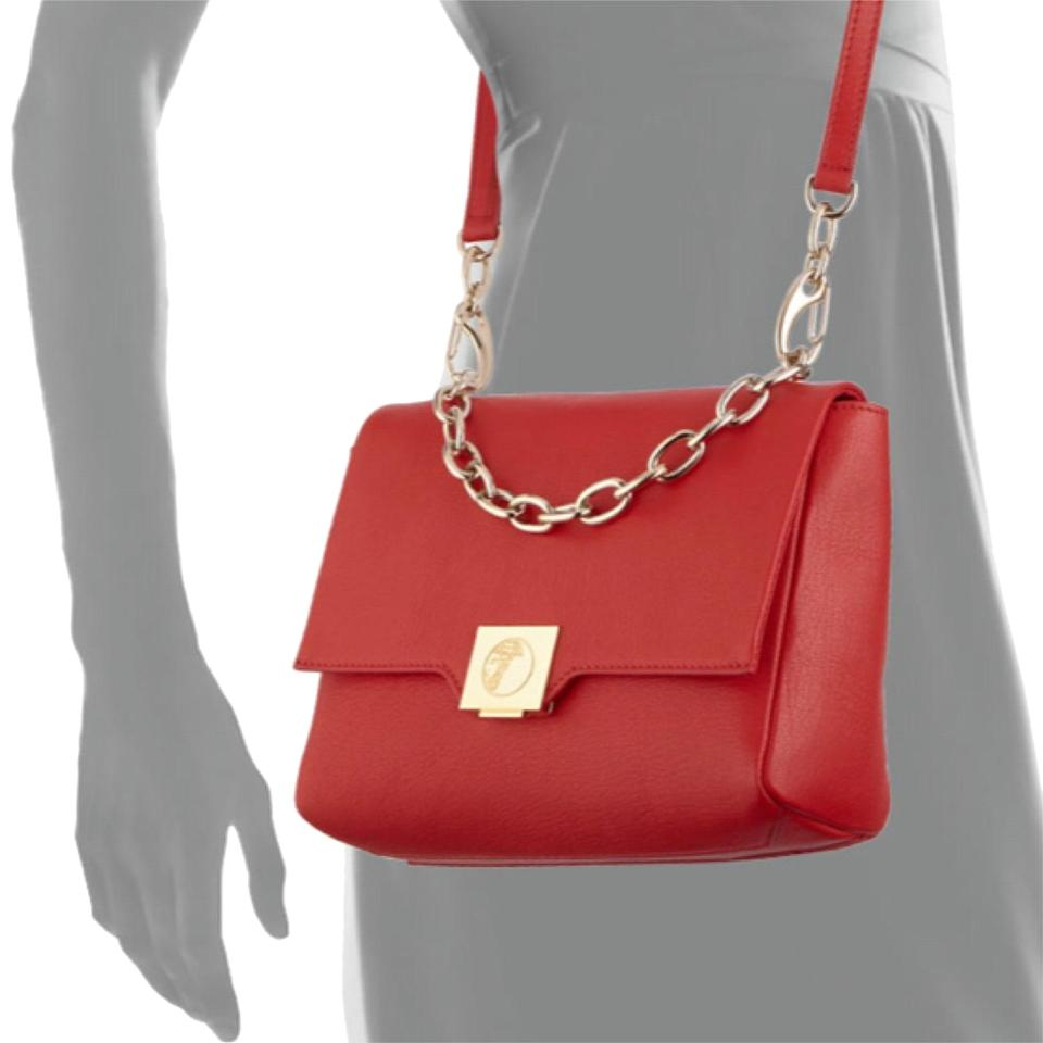 Versace Collection And Gold Hardware Red Leather Cross Body Bag ... dbf3ae4e4e291