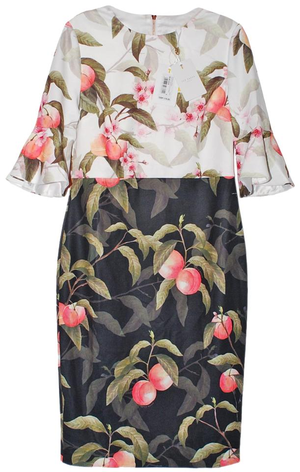 90f5a1b68 Ted Baker Black Areea Peach Blossom Fluted Sleeve Mid-length Work ...