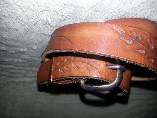 Vintage 1987 Vintage Hand tooled leather belt with mixed metals