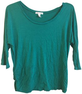 Ambiance Apparel 3/4 Sleeve Batwing Sleeve Ruching Top Green