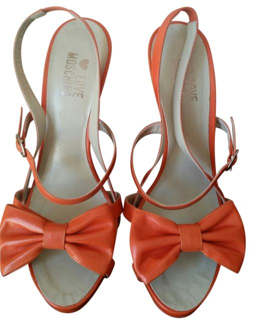 Item - Orange New Leather Heels with Flower Sandals Size US 8 Regular (M, B)