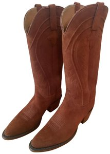 Lucchese Cashmere Suede Cowboy Suede Rust Boots
