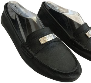 Coach Silver Hardware Pebbled Calfskin Logo Leather Black Flats