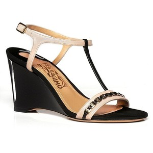 Salvatore Ferragamo Black, Nude Wedges
