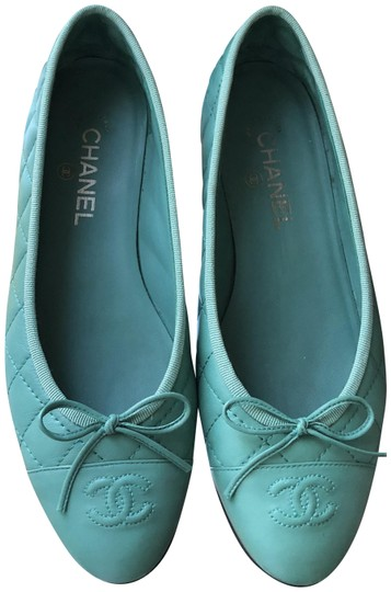 Chanel #chanelflats #chanelballerinas #chanelshoes Mint green/torquoise Flats