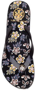 Tory Burch Flip Flops Flats Summer Beach Vacation Black floral Sandals