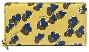 Gucci Heartbeat Print Yellow Leather Zip Around Clutch Wallet 309705 7309