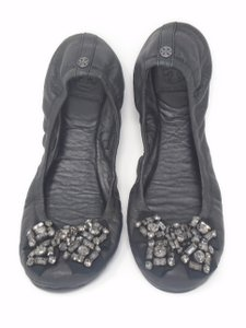 Tory Burch Leather Limited Edition Embellished Couture Black Flats