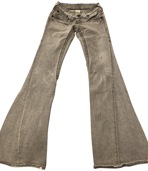 Item - Gray Distressed Low Rise In Light Wash Flare Leg Jeans Size 24 (0, XS)