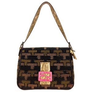 Fendi Embellished Beaded Black Gold Snakeskin Shoulder Bag