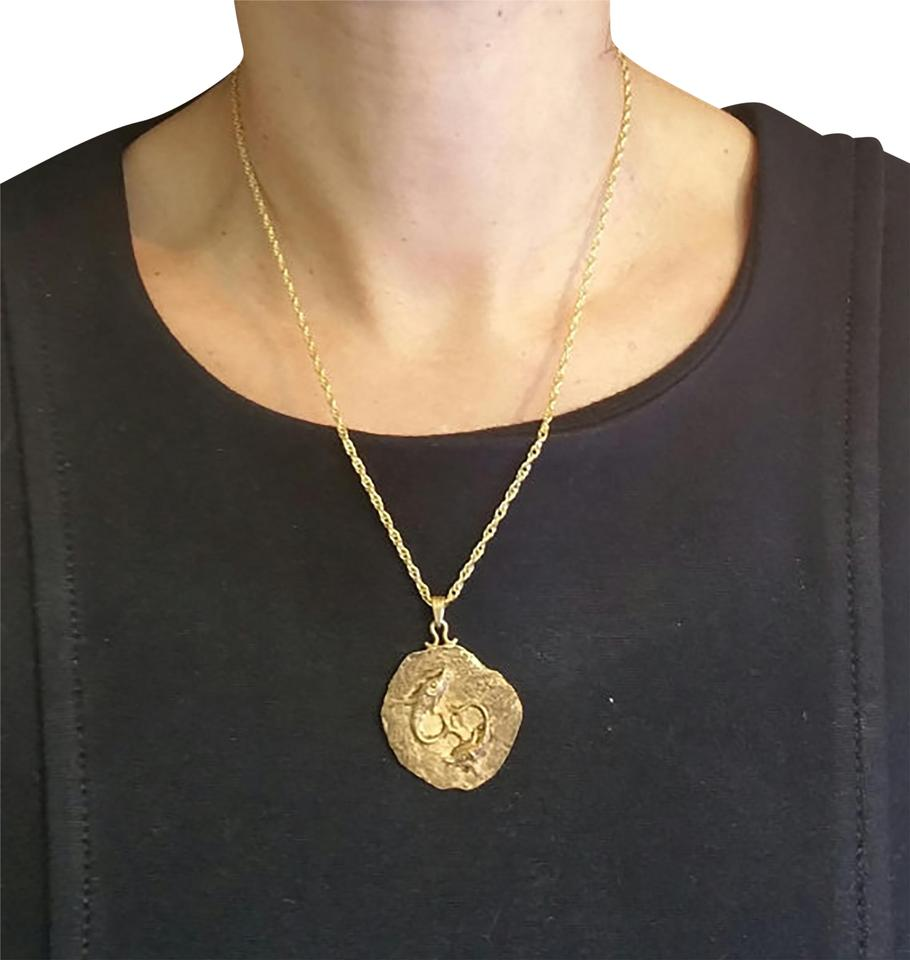 Gold Pendant Sterling Silver Medal and Chain 18k Yellow Pl Necklace