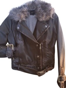 Jessica Simpson Faux Fur Collar Vegan Leather Motorcycle Jacket