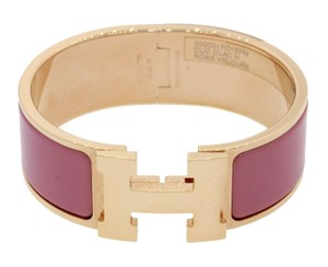 Hermès Hermes Clic H Rose Velours Palladium Plated Hardware 20mm Bracelet