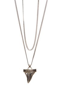 Givenchy Givenchy Silver & Gold Double-Strand Shark Tooth Pendant Necklace