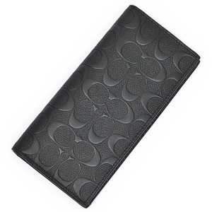 Coach NEW COACH men Embossed signature logo slim skinny leather long wallet