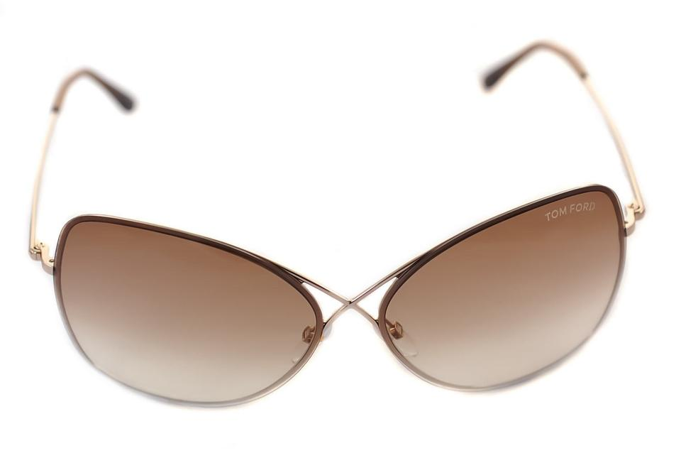d27cc9481e35a Tom Ford 28f - Shiny Rose Gold   Gradient Brown Ft0250  colette  New  Sunglasses