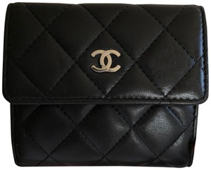 94cee02d5f36 Chanel Wallet Wallet Quilted Compact Wallet Black Clutch