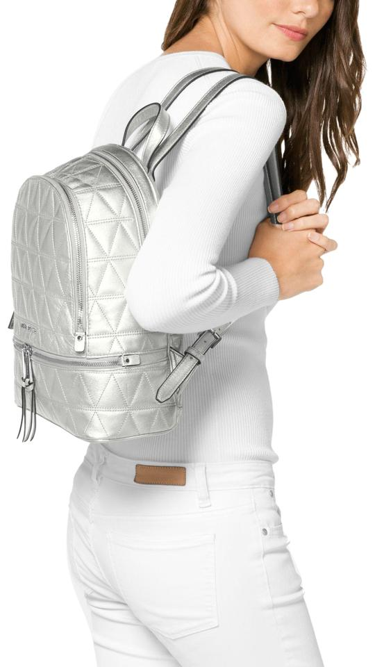 2bdb580c5735 Michael Kors Rhea Medium Metallic Quilted-leather Silver Leather Backpack