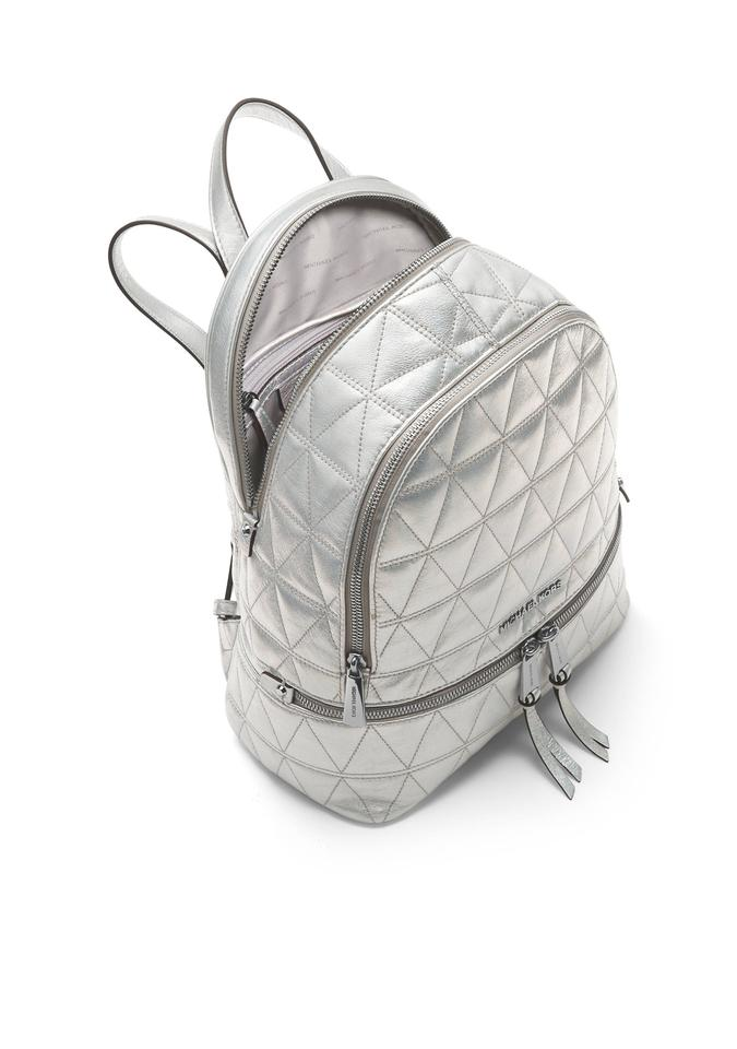 e189933c126c60 New Michael Kors Rhea Medium Metallic Quilted-leather Silver Leather UK74