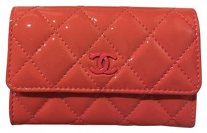 Chanel CHANEL Orange/pink Quilted Patent Leather Cardholder