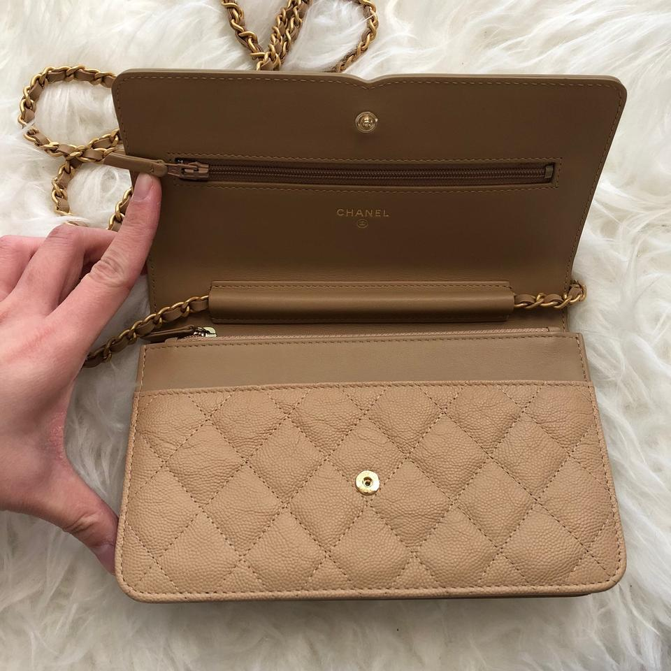 4896551608bf9a Chanel Wallet on Chain 18p Cc Caviar Filigree Woc Beige Grained ...