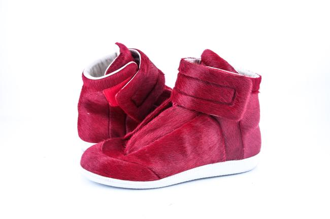 Item - * Red Calf Hair High Top Sneakers Shoes