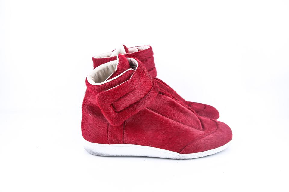 Hair Margiela Sneakers Calf Top Shoes Red Maison High t7Uq4Rq6