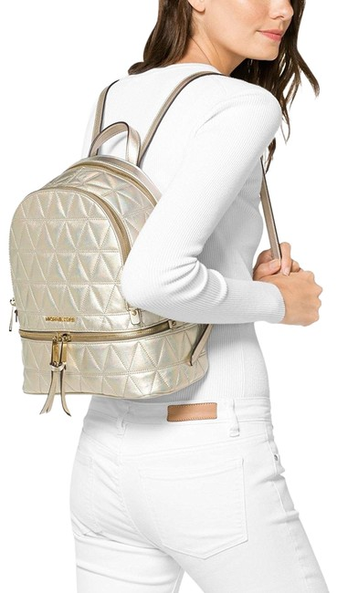 Item - Rhea Medium Metallic Quilted-leather Pale Gold Leather Backpack