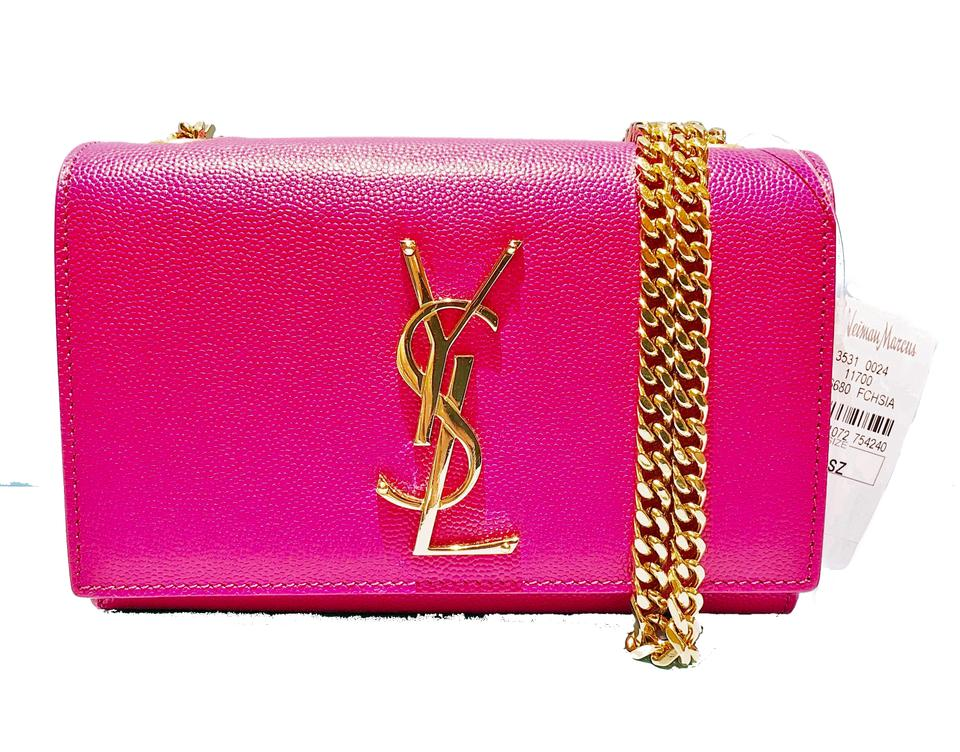 dfe8f1f7369 Saint Laurent Ysl Pebbled Leather Monogram Kate Shoulder Made In Italy Cross  Body Bag Image 0 ...