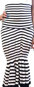 Navy & Cream Maxi Dress by Junya Watanabe Comme des Garçons Striped Strapless Stretchy Knit