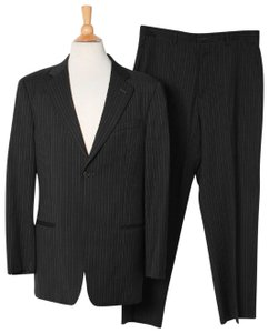 Armani Collezioni Armani Collezioni Black Wool Stripes 2 Blazer Pants Dress Mens Suit