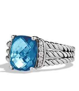 David Yurman David Yurman Petite Wheaton St Silver Blue Topaz Diamonds Ring